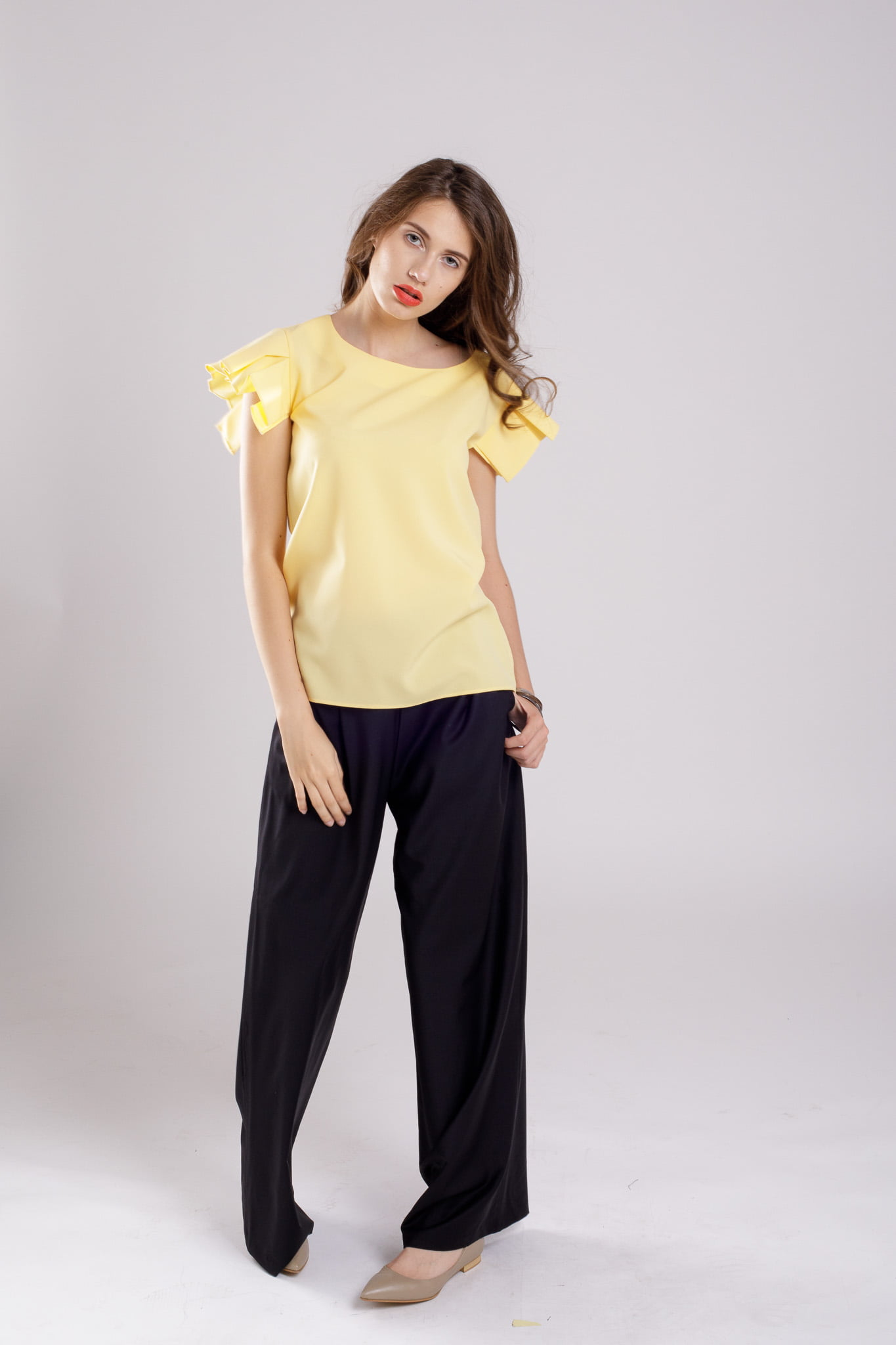 bluza maneca plisata yellowfantasy