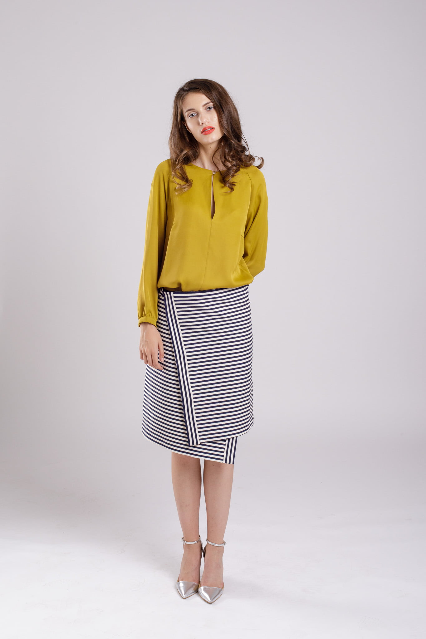 fusta asimetrica striped skirt