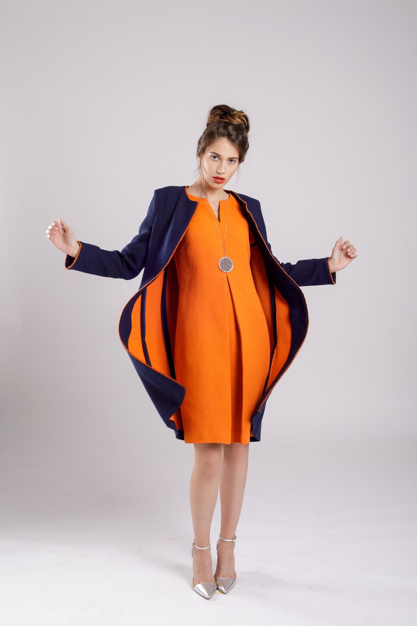 jacheta lunga navy coat