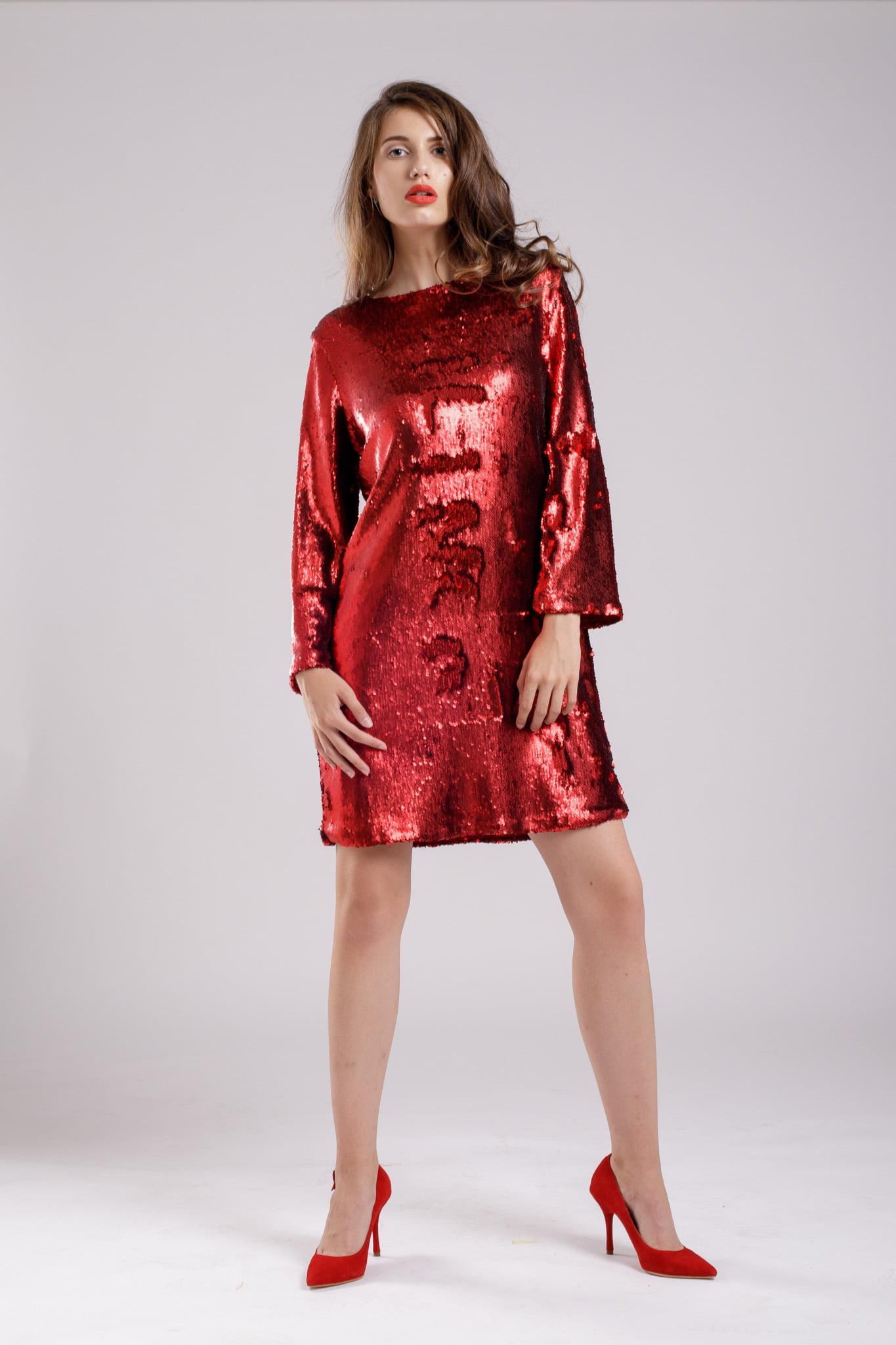 rochie paiete sparkel red