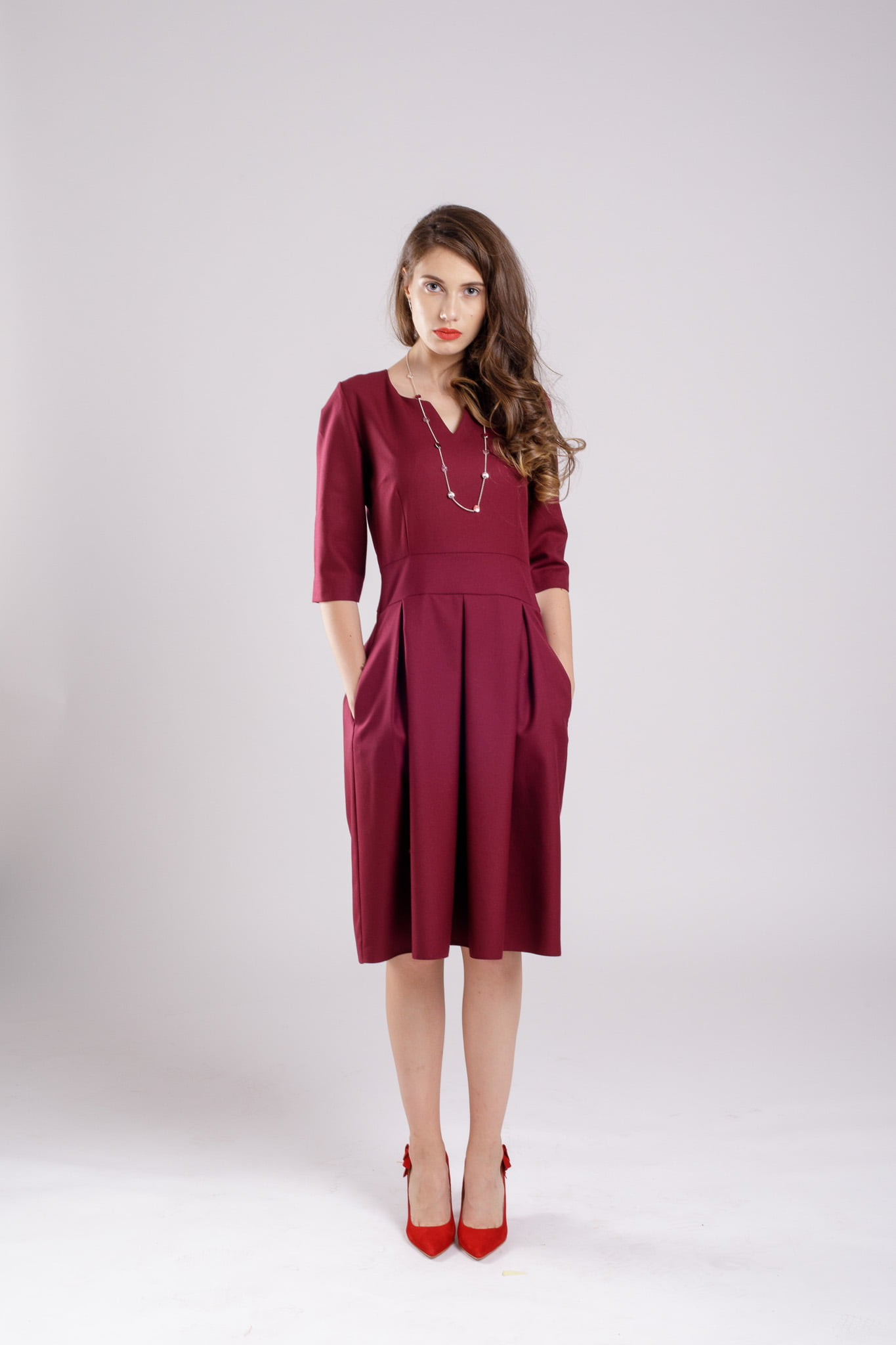 rochie pliuri burgundy dress