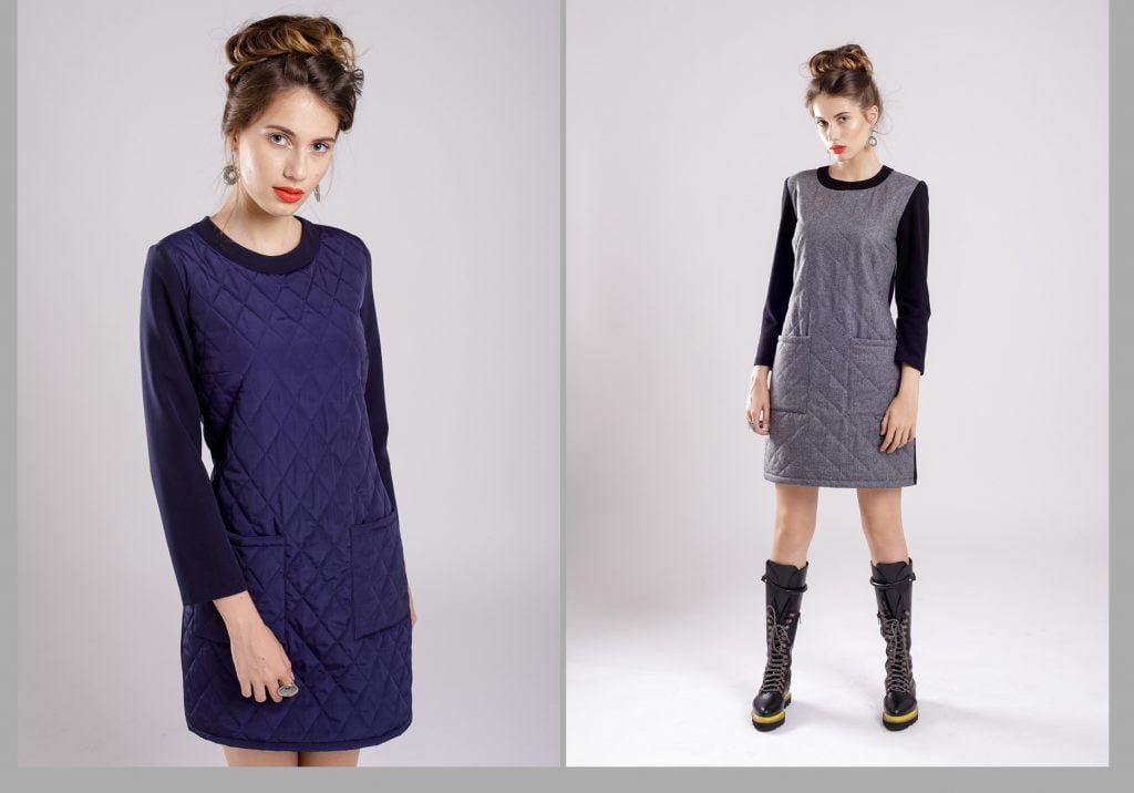 rochie iarna din doua tipuri de materiale
