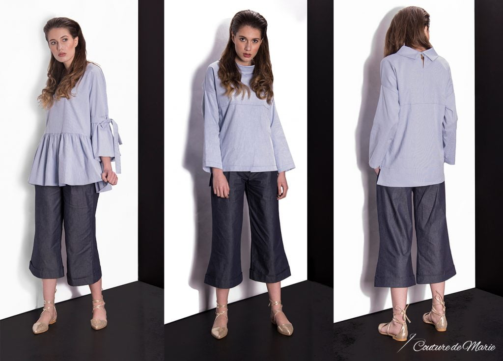 pantaloni culottes denim