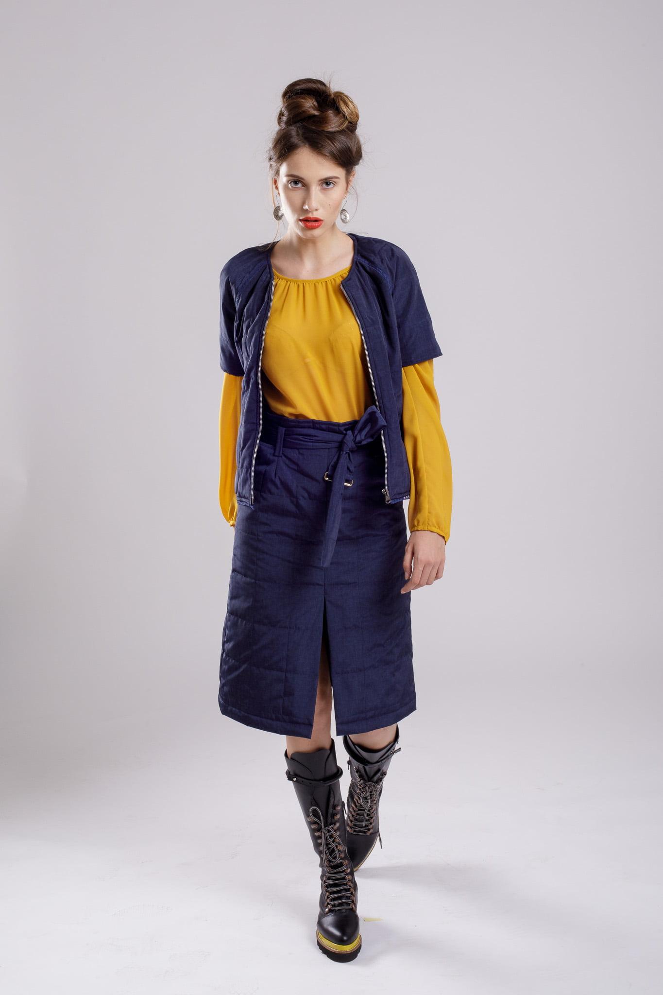 fusta dreapta navy skirt