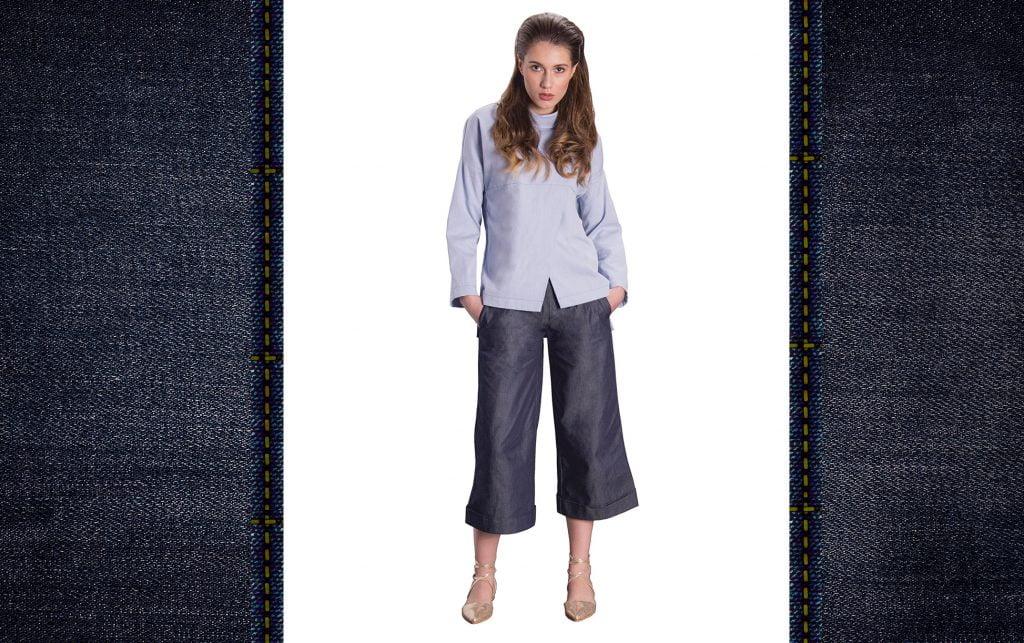 pantaloni culottes denim piesa cheie de toamna