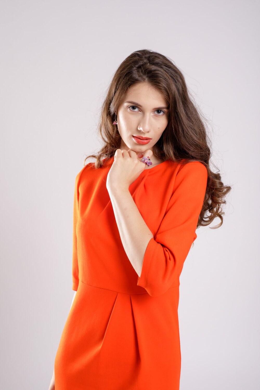 rochie conica coral dress