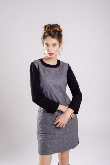 rochie dreapta grey&black dress