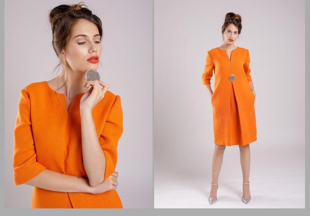rochia portocalie pentru look stylish
