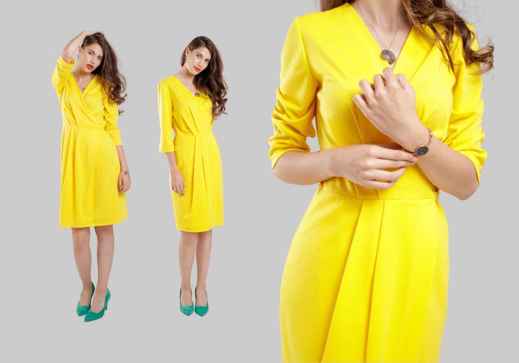 rochia galbena pentru cina romantica