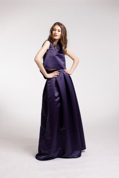 Rochie de seara 2 piese din tafta bleumarin