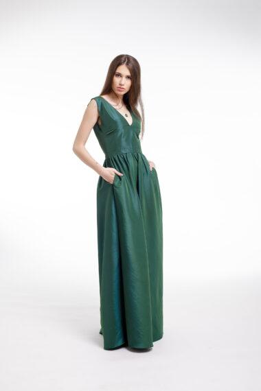 Rochie de seara din tafta verde