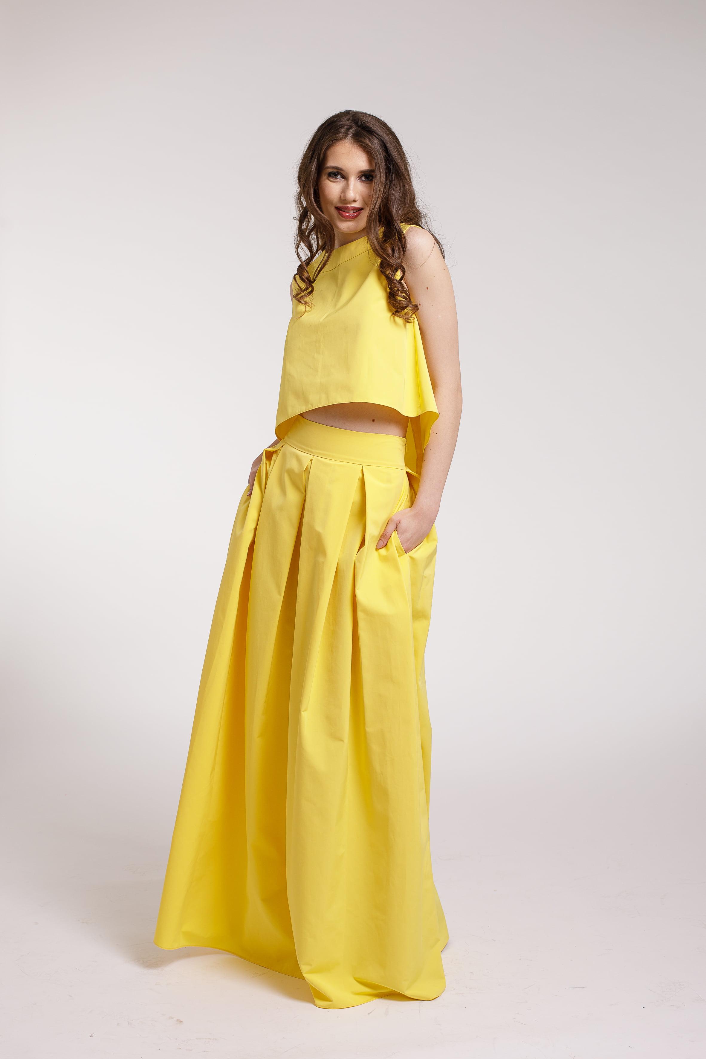 Rochie De Seara Maxi 2 Piese Din Tafta Galbena Couture De Marie