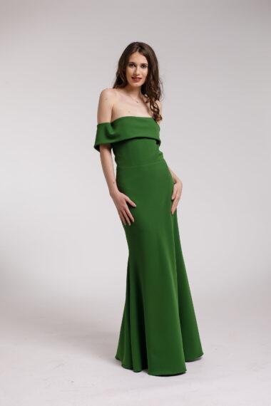 Rochie de seara verde cu volan supradimensionat