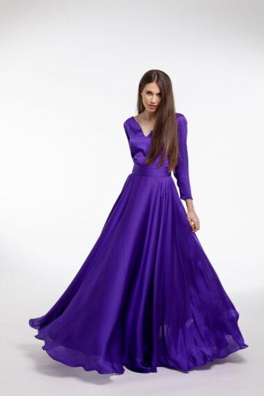 Rochie de seara violet din matase vegetala