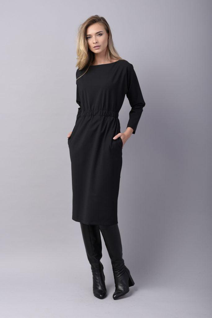 Rochie conica neagra din lana cu buzunare WONDER