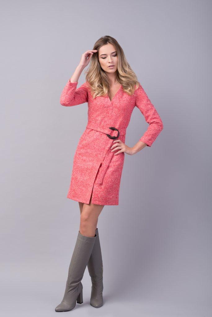 Rochie roz din amestec de lana JOY