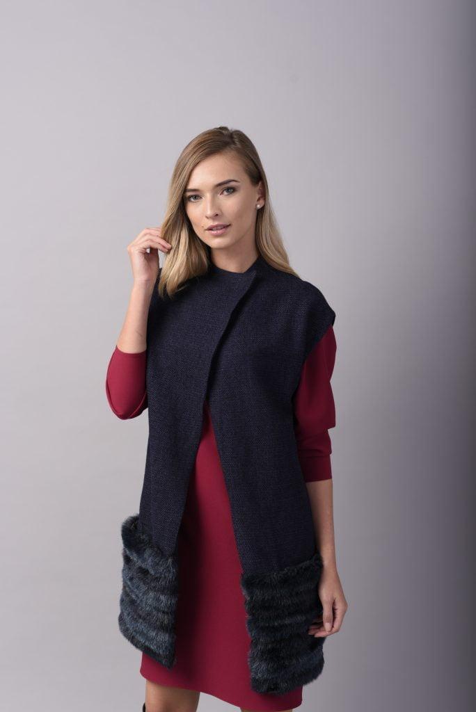 Vesta din stofa de lana si blana ecologica bleumarin GRATITUDE