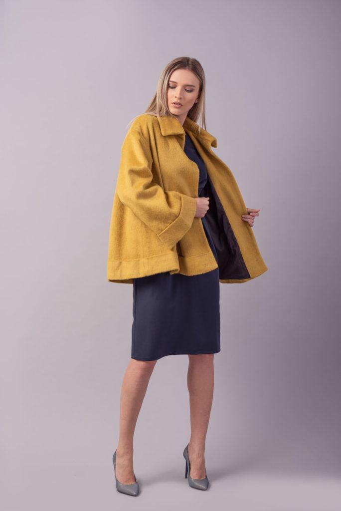 Pardesiu oversized din lana mustar Petal