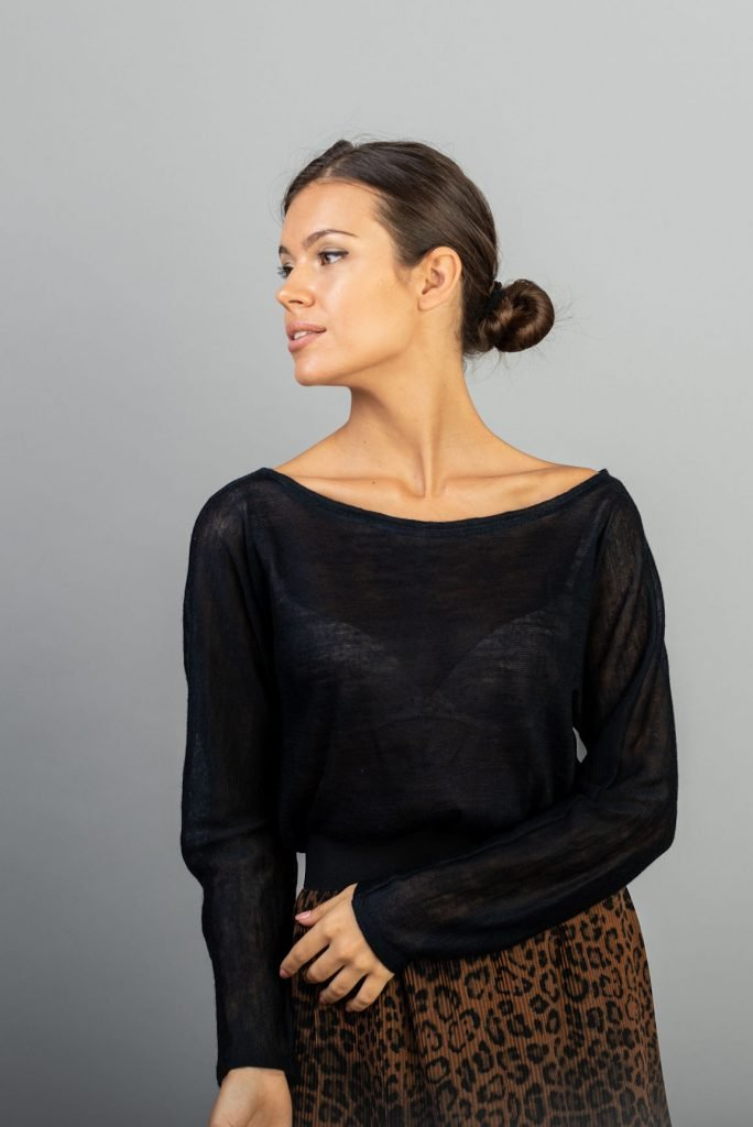 Bluza tip pulover amestec lana bleumarin Ali
