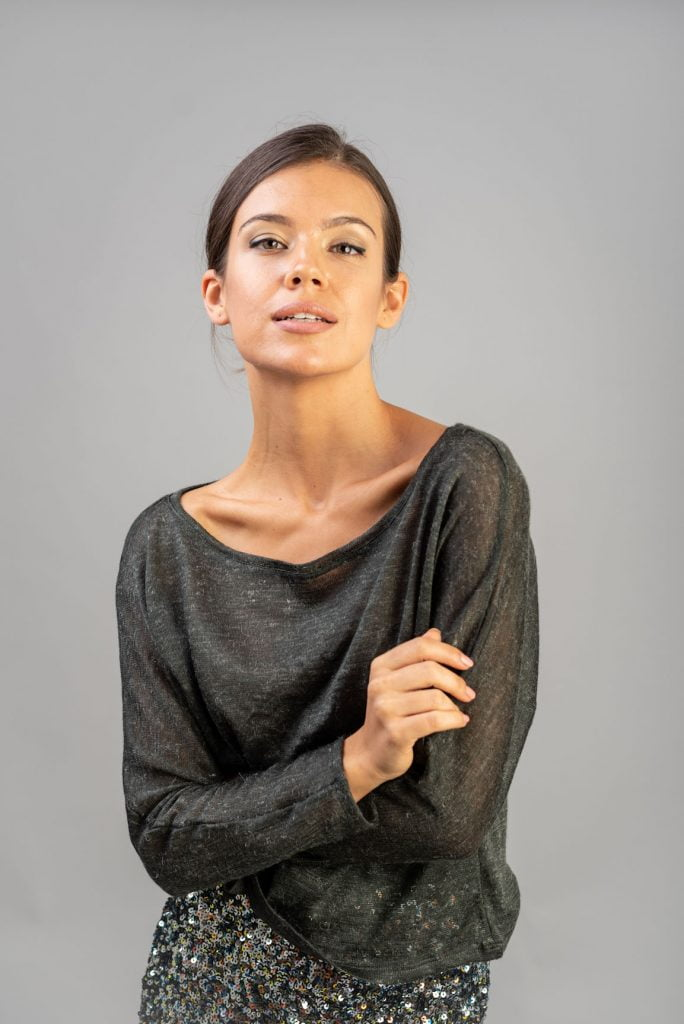 Bluza tip pulover amestec lana gri Rachael
