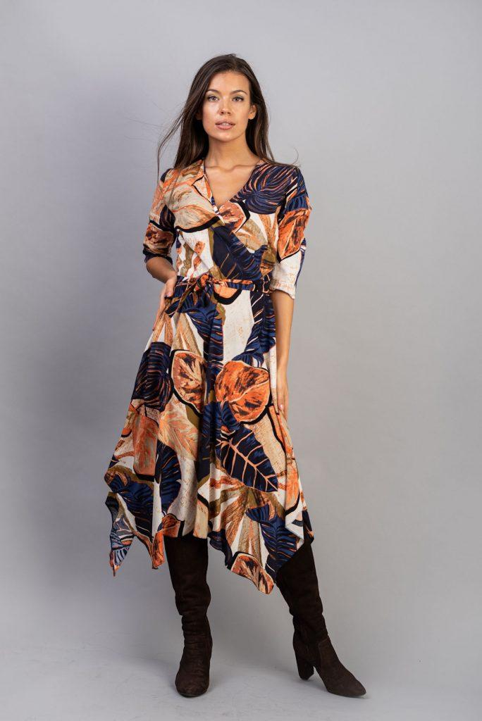 Rochie asimetrică din vâscoză imprimată Melanie